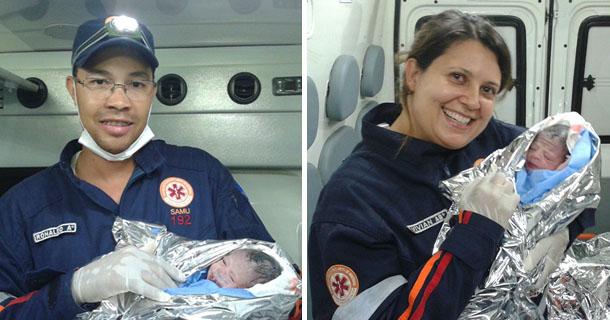 Socorristas Ronaldo e Viviam, logo após o parto na Rua Voluntários da Pátria