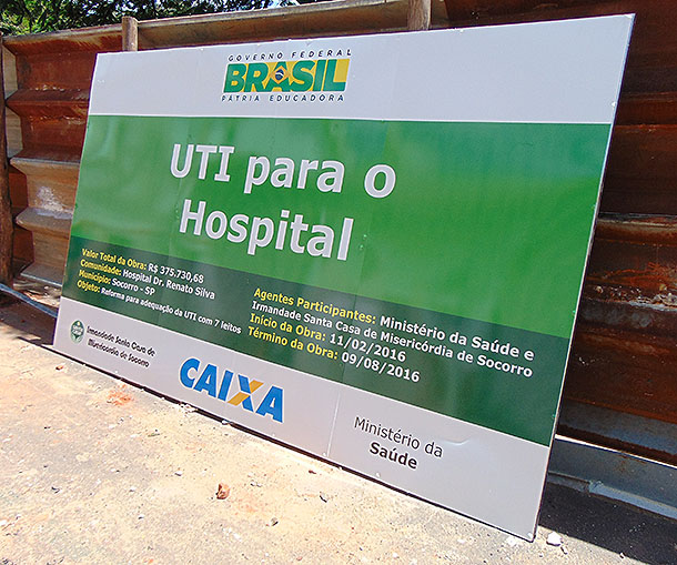 Placa de Obras da UTI do Hospital de Socorro mundo sertanejo 02